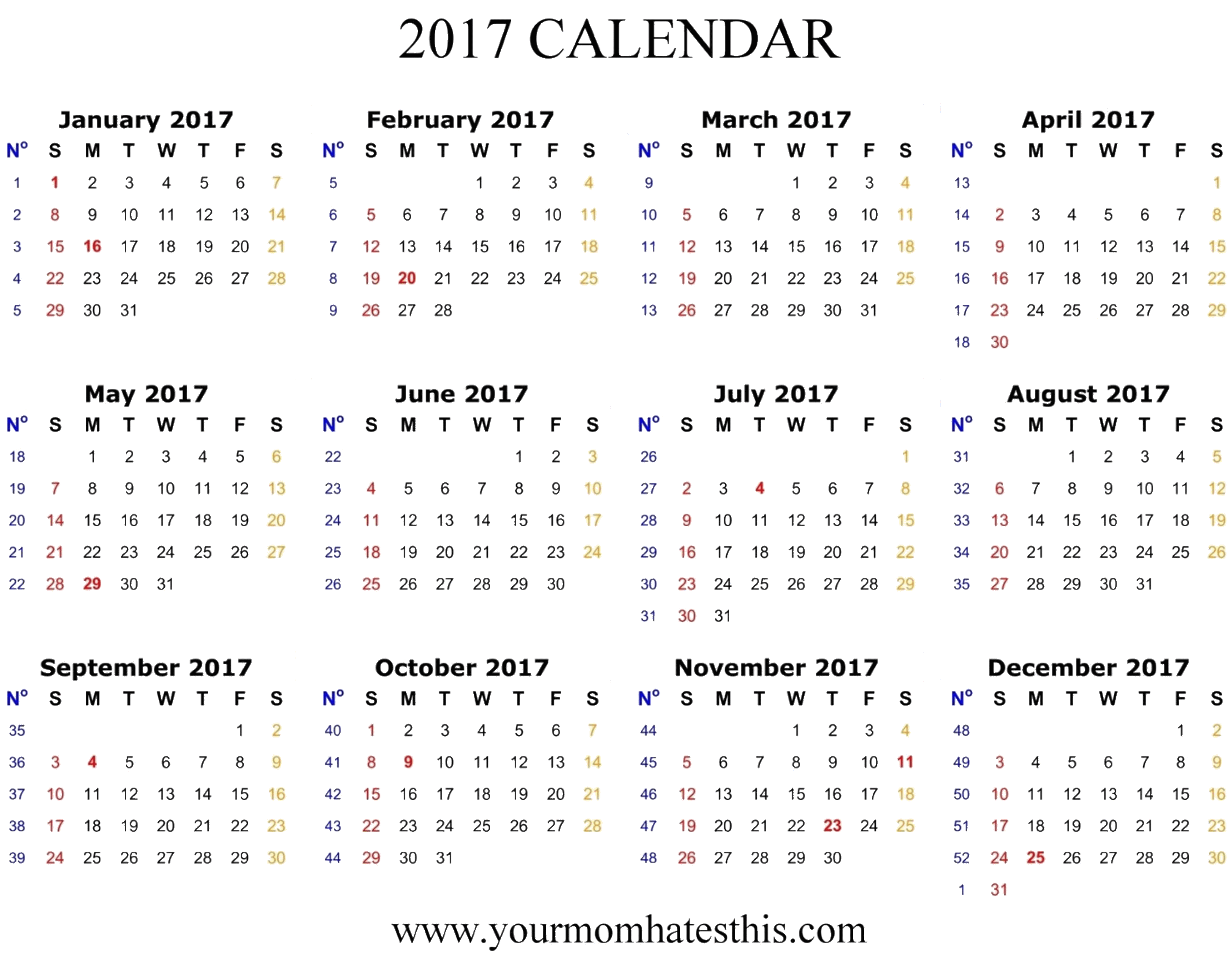 2017 Calendar Printable Photo PNG Images