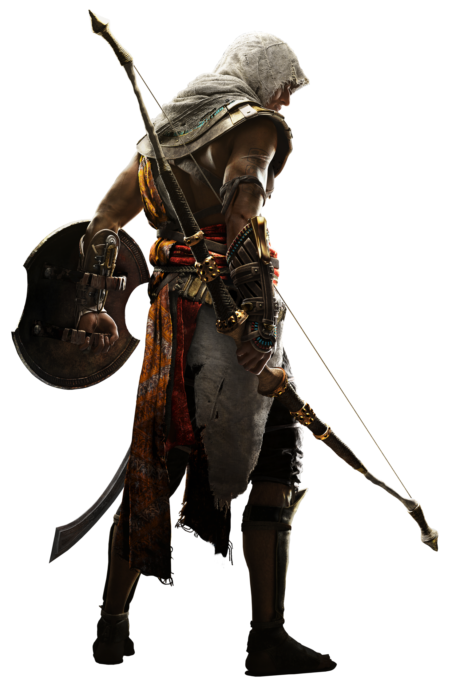 Assassins Creed Player Character With Protection Shield In Hand PNG 27532