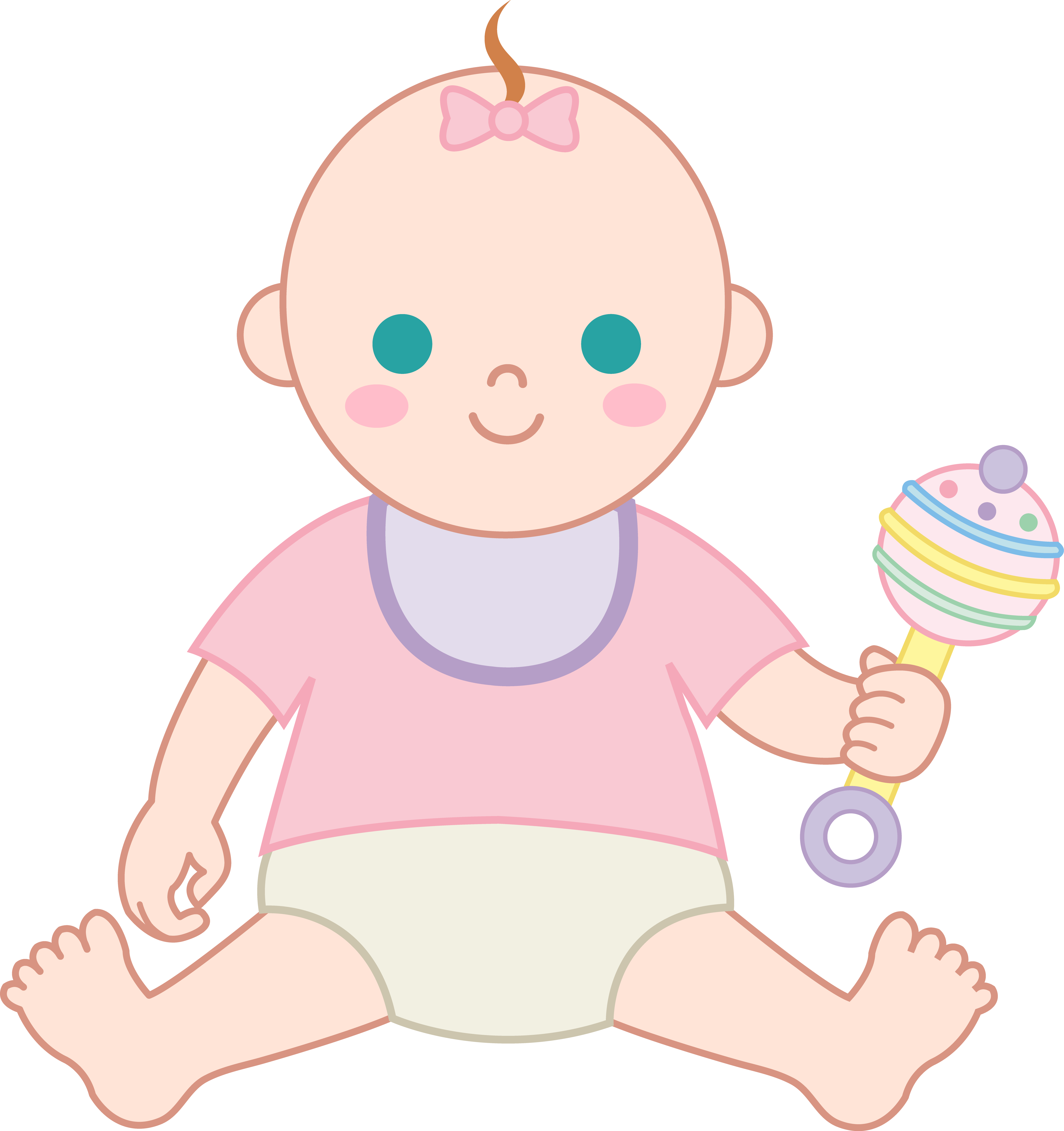 Baby Girl With Rattle Png PNG Images