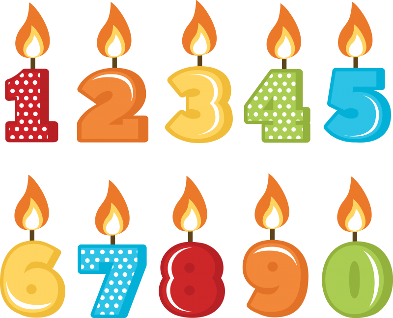 Birthday Candles With Numbers 1 To 10