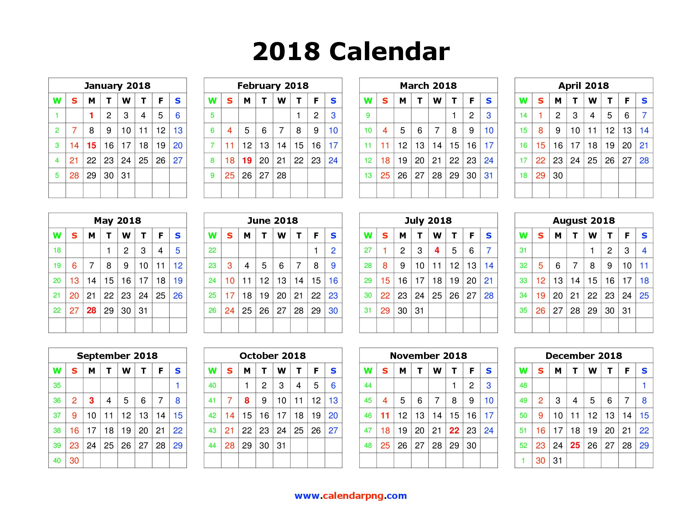 2018 Calendar Png Photos 3980