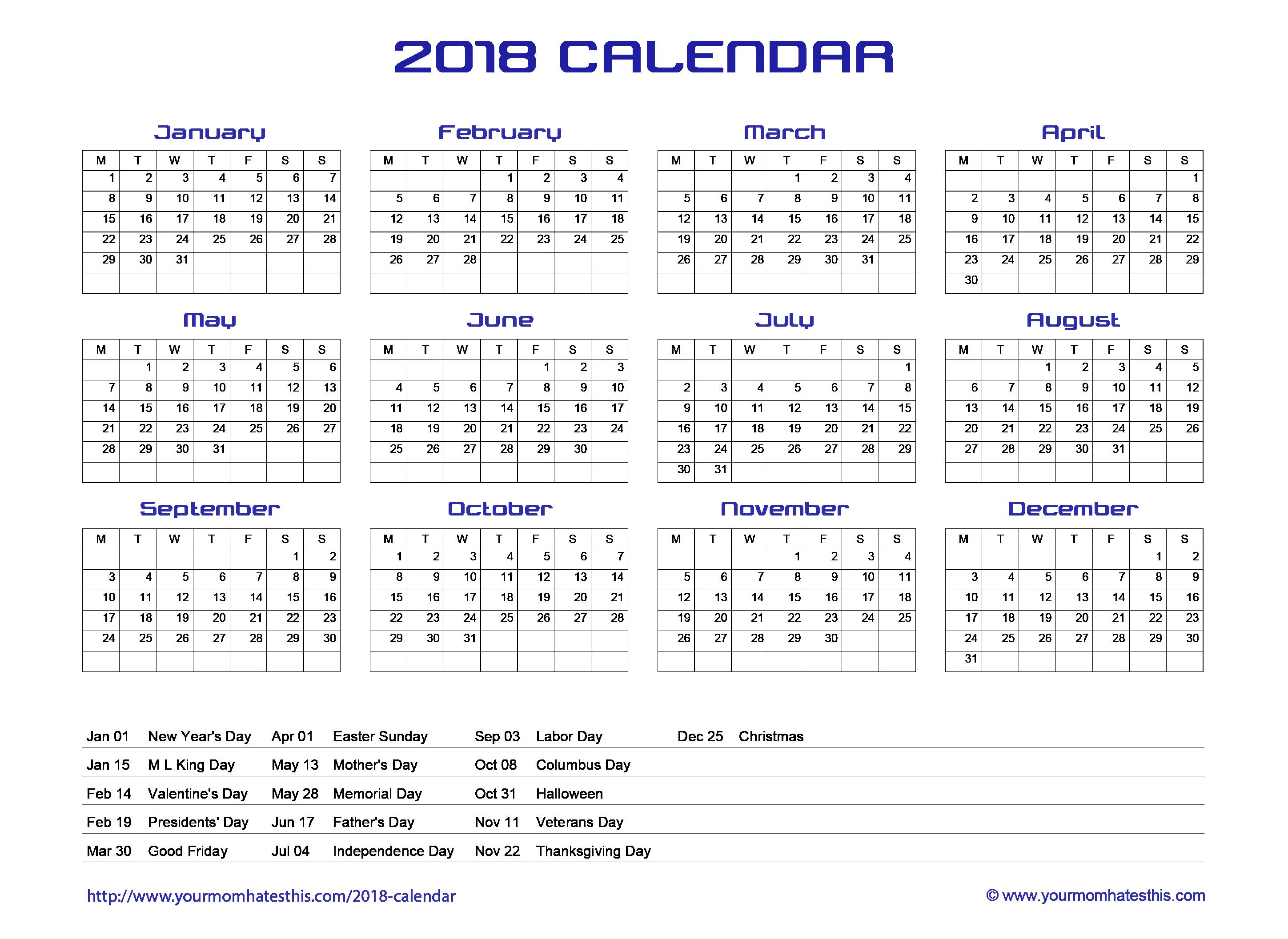 2018 calendar quality calendars pictures