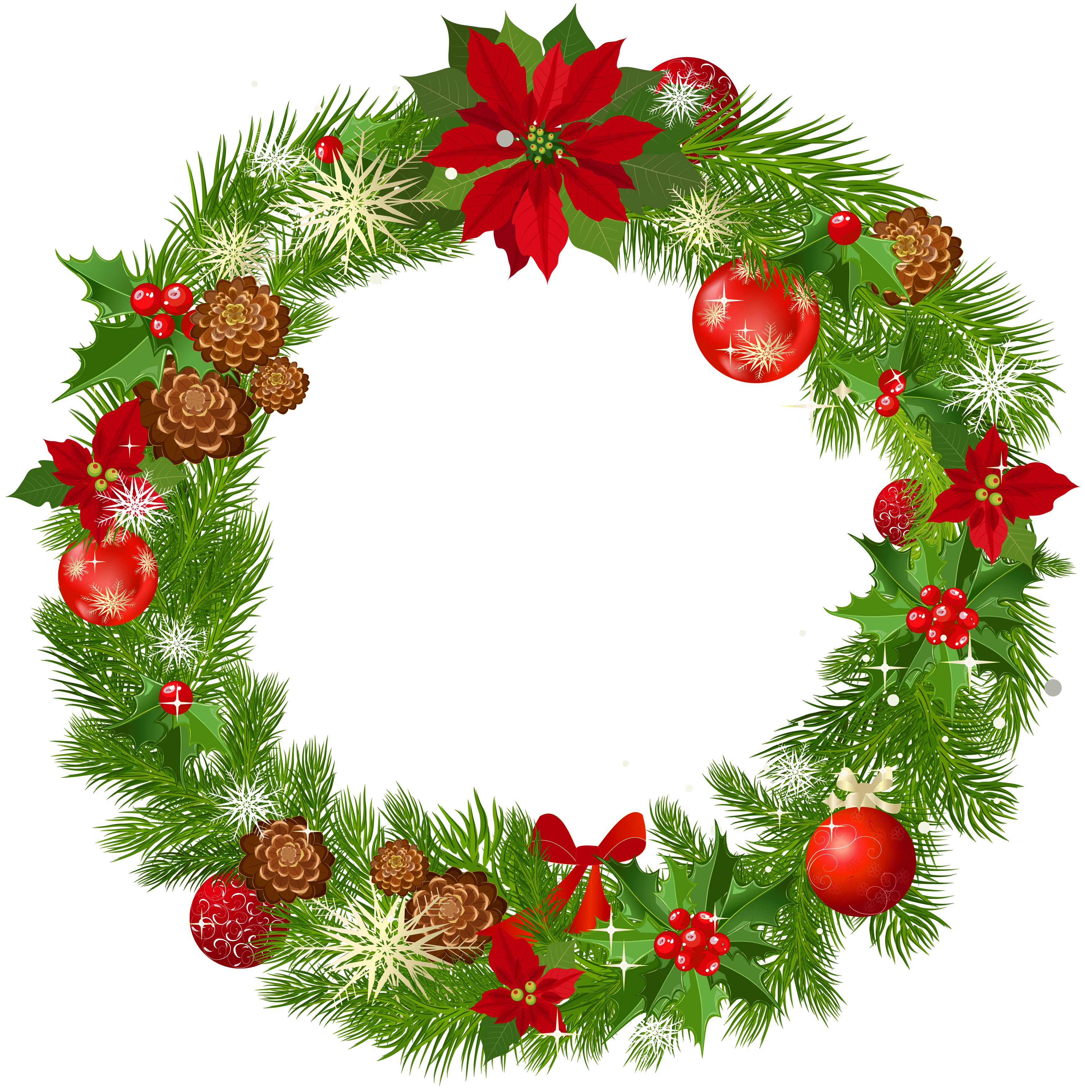 Fancy Christmas Wreath Illustration Clipart Icon