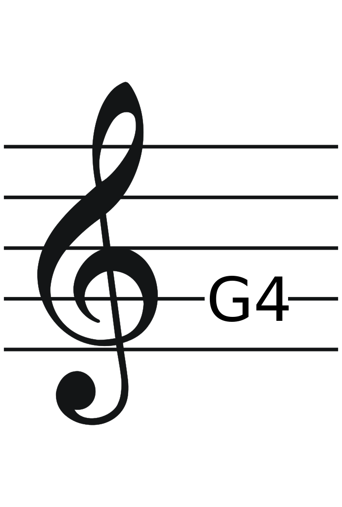 Treble Clef With Ref Note Png 3789