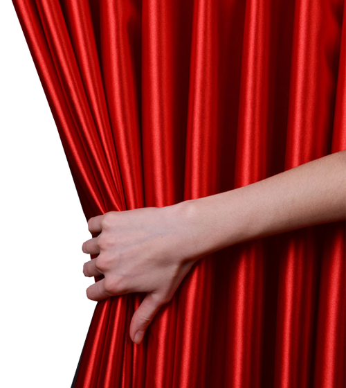 Hand And Red Curtains Png 368