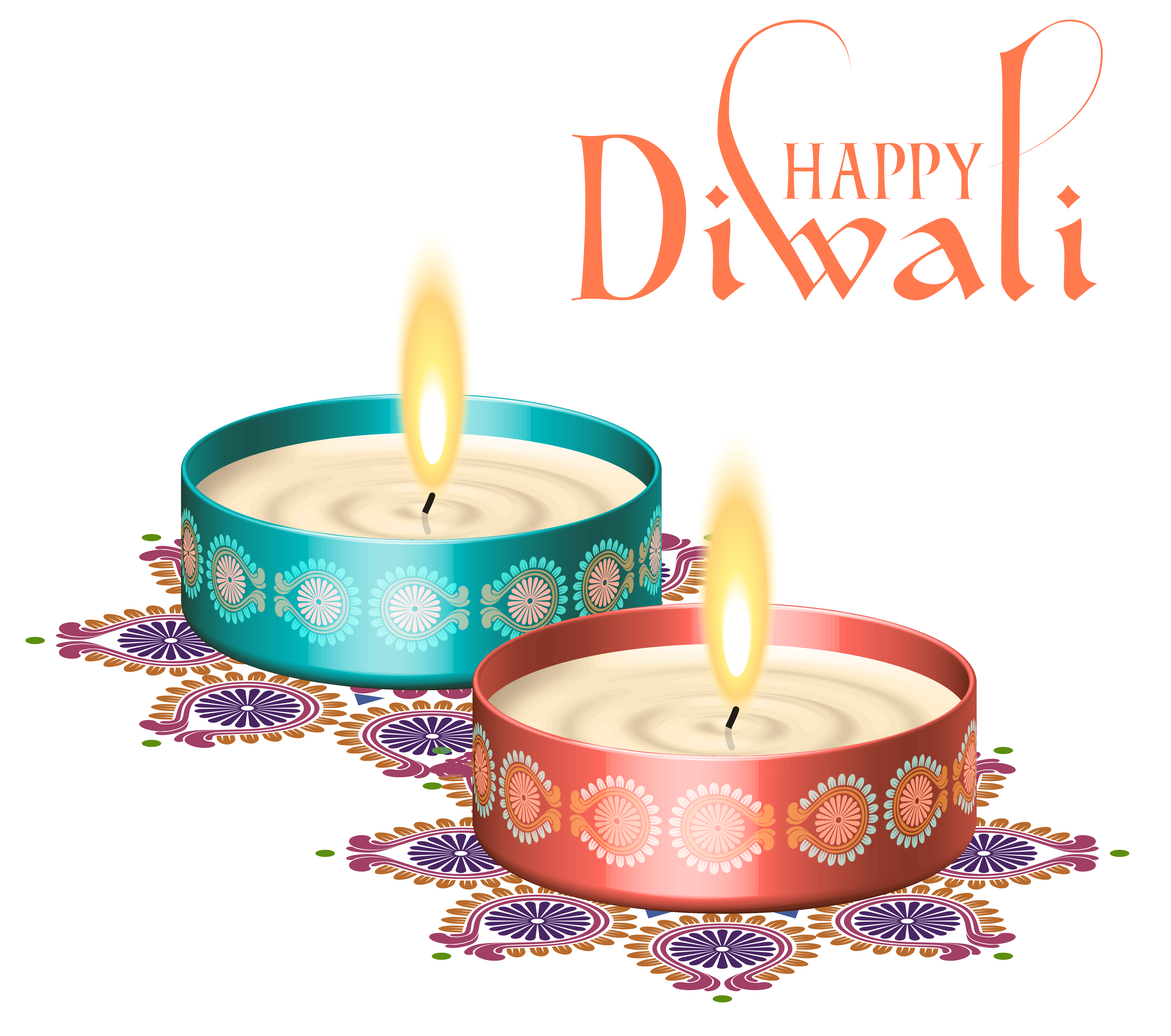 Blue, Red, Happy Diwali Nice Candles Png PNG Images