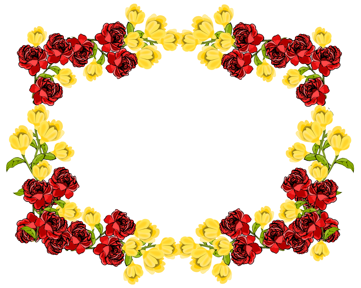 Red And Yellow Flower Frame Png - 5611 - TransparentPNG