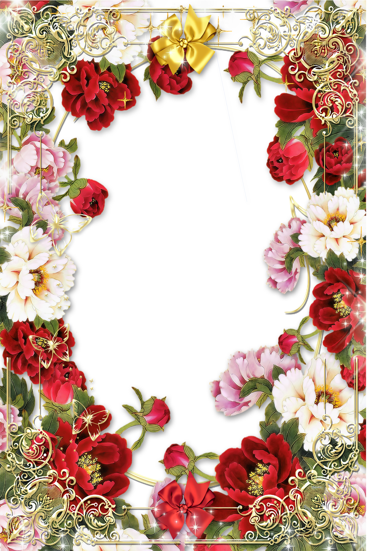 Flowers Picture Frame With Golden Floral Border Images 5642