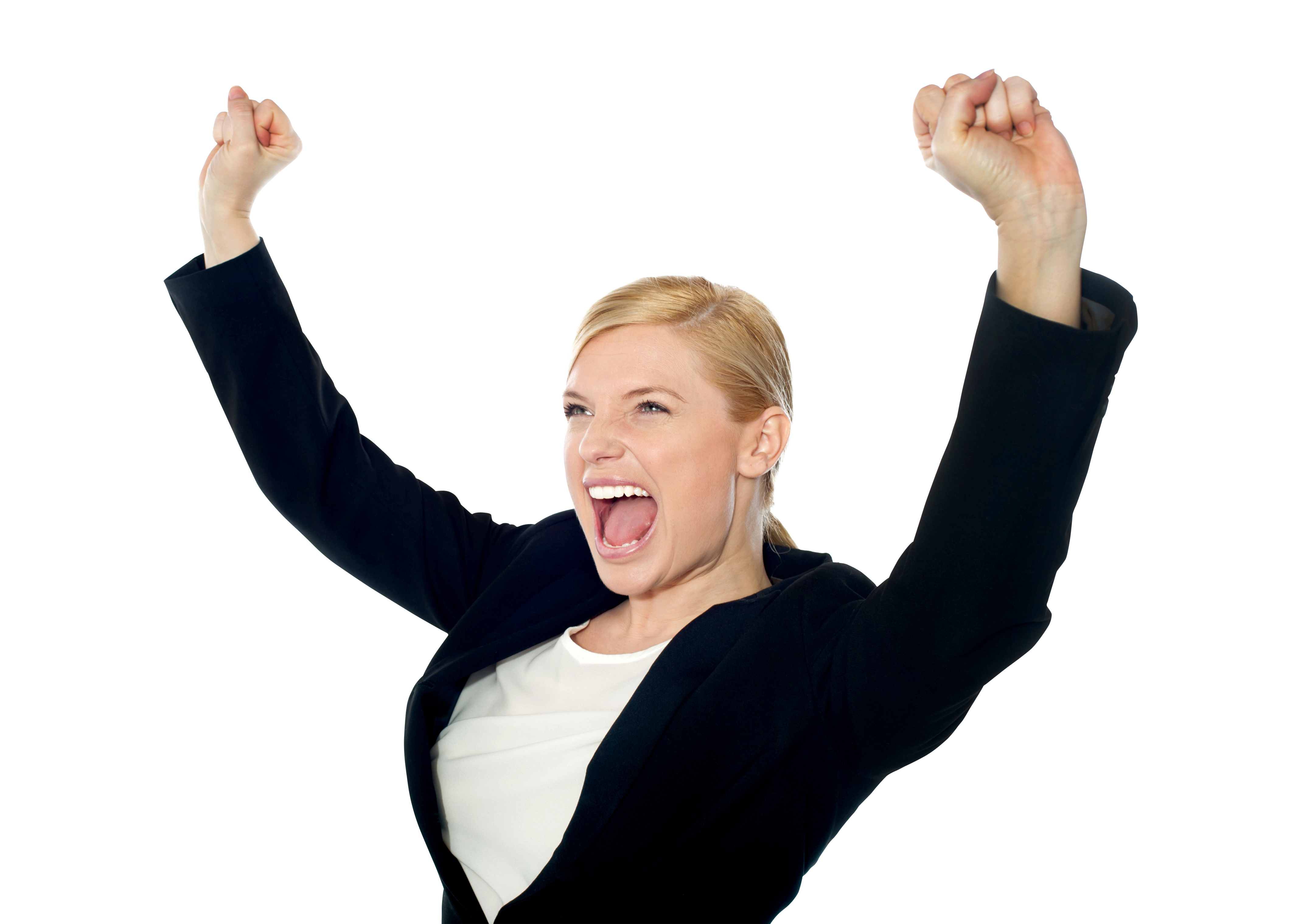 Blonde Happy Woman Black Jacket Person Free PNG 23674