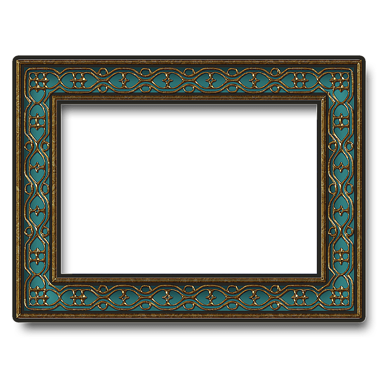 Embroidered Transparent Turquoise Frame, Embroidery Bezel, Silver, Bulge Frame 27855