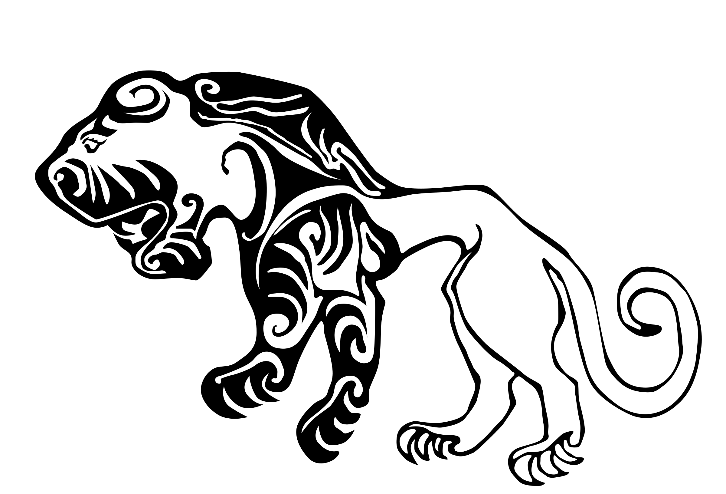Scythian Tiger Tattoo Clipart 4719