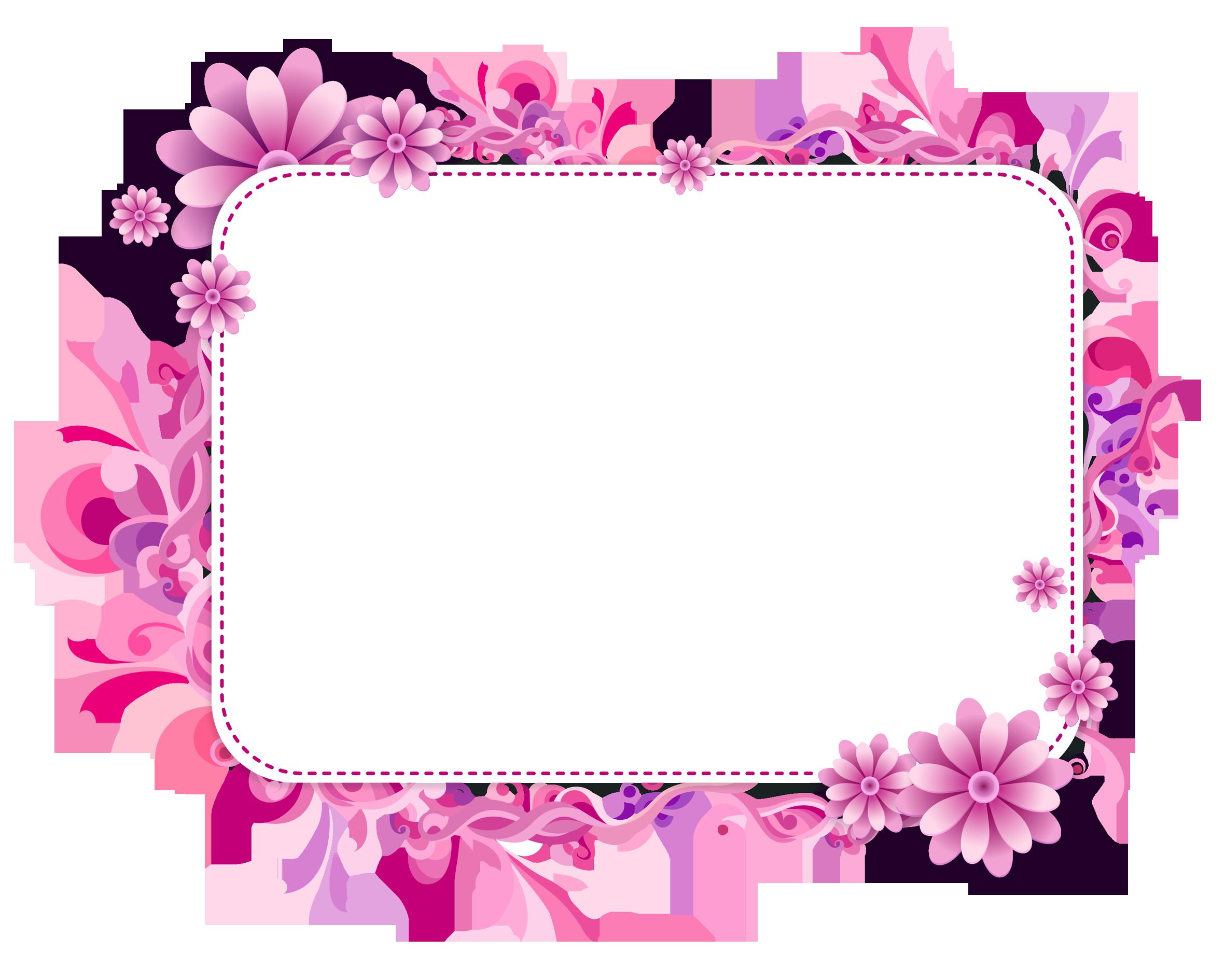 Pink Floral Vector Frame Png - 249 - TransparentPNG