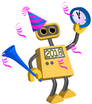 Happy New Year 2018 Robot Png