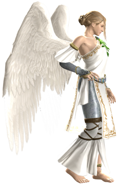 Angel Character, White Angel Wings  PNG Images