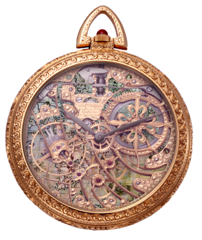 Antique Vintage Pocket Watch With Map Png PNG Images