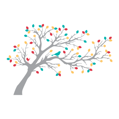 Gray Forest Clipart Art Tree With Colorful Branches PNG Images