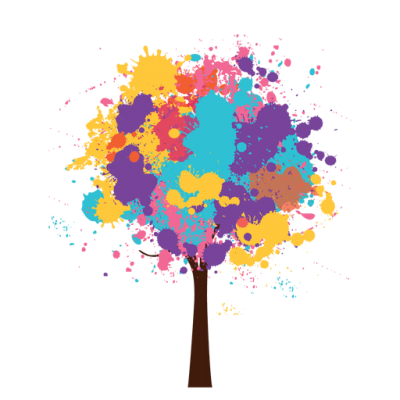 Artistic Colorful Abstract Tree Watercolor Clipart PNG Images