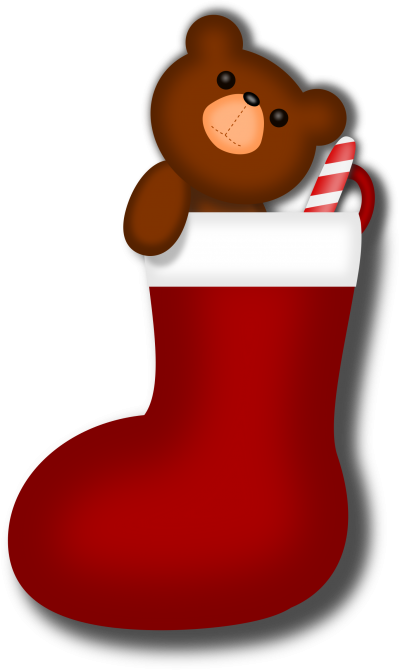 Image Of Teddy Bear In Christmas Art Stocking Transparent Images, Teddy Bear, Christmas, Celebrate, Christmas Night PNG Images