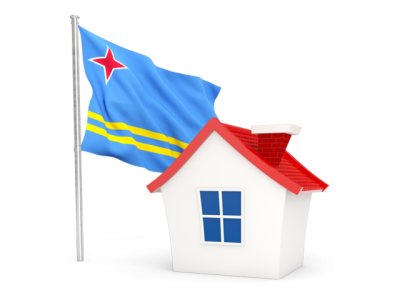 Free House With Aruba Flag Photo PNG Images
