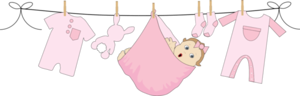Baby Girl Hanging On Clothesline Png PNG Images