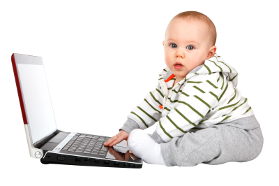 Baby With Laptop Png Image PNG Images