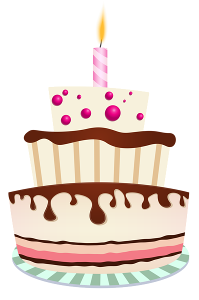 Birthday Cake With One Candle Png Clipart Photo