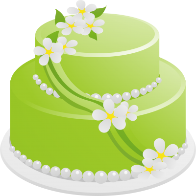 Green Flowers Birthday Cake Pictures PNG Images