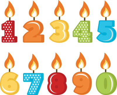 Birthday Candles With Numbers 1 To 10 PNG Images