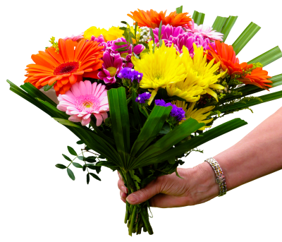 Bouquet On Hands PNG Images