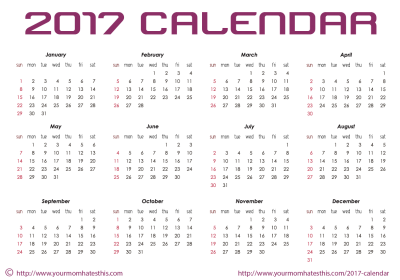 2017 Calendar Printable Png Pictures