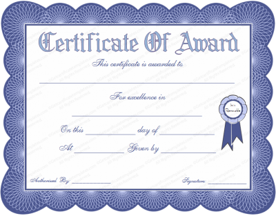 Blue Colored Certificate Of Award Or Prize Winner Certificate Template Png