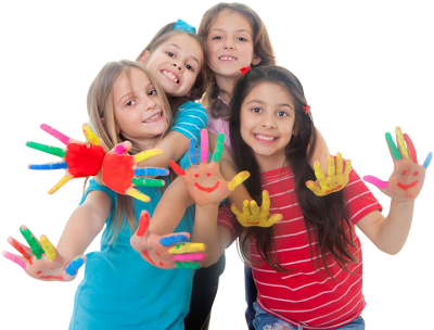 With Painted Hands Happy Children Png Background Photo PNG Images