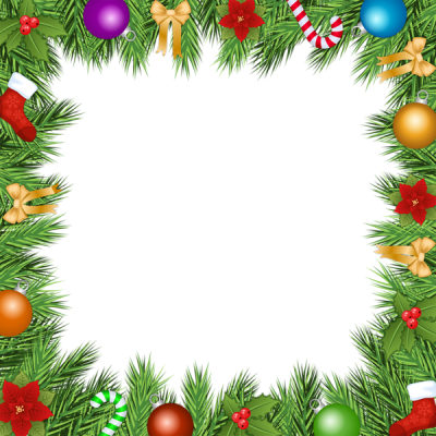 Colorful Frame Christmas Border Ball Ribbon Grass Png images PNG Images