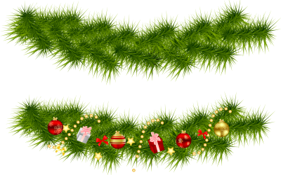 Tree, Garland Ornaments Christmas Border Transparent Download PNG Images