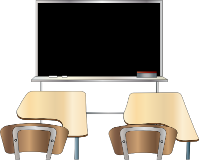 Classroom Design With Black Student Board And Brown Student Desk Transparent Png PNG Images