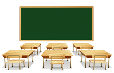 Green School Board And Brown Student Desks Transparent Background PNG Images