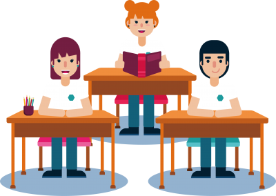 illustration Diligent Students in Classroom Transparent Background PNG Images