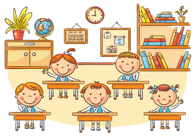 Little Students Painting in Classroom Transparent Background PNG Images