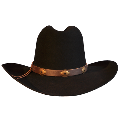 Black Wool Felt Cowboy Hat With Leather Trim Photo