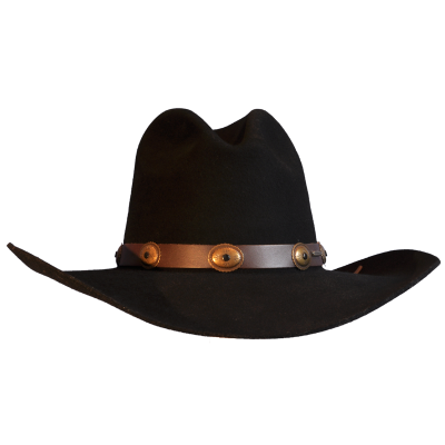 Black Wool Felt Cowboy Hat With Leather Trim Png PNG Images