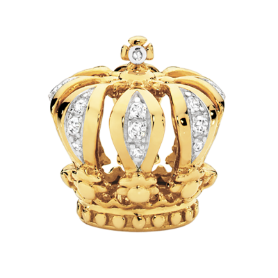 Yellow Gold Diamond Set Crown Charm