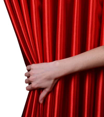 Hand And Red Curtains Png PNG Images