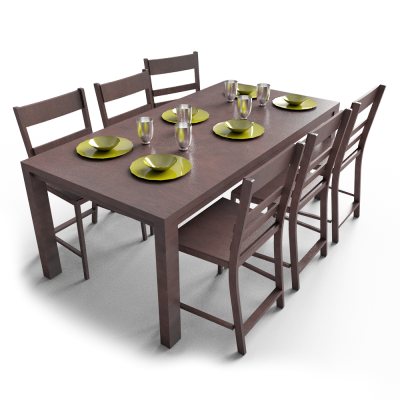 The Simple Design Dining Table, Cups, Plates, Chairs PNG Images