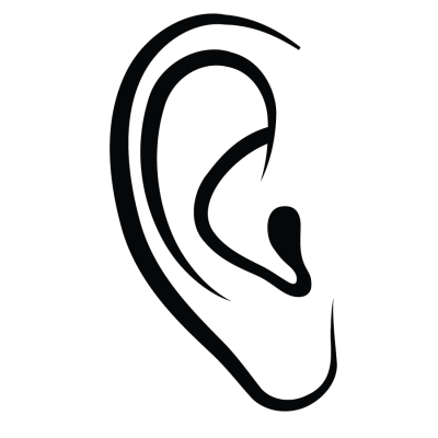 Ear Outline Black White PNG Images