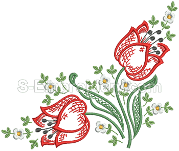 Floral Embroidery Red images PNG Images