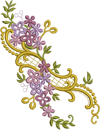 Purple Embroidery Png