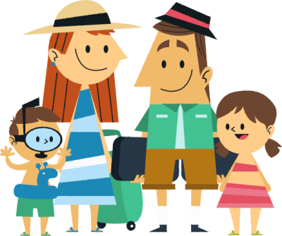 Cartoon, Drawing, Going On Vacation Happy Family Png Hd PNG Images