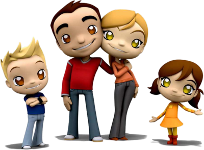 Posing Cartoon Happy Family Clipart Transparent PNG Images