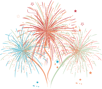 Tricolor Fireworks PNG Drawing