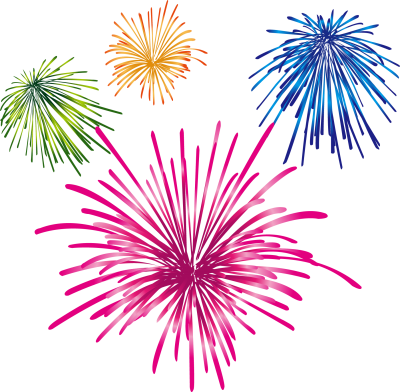 Transparent Colorful Fireworks, Orange, Blue, Green, Pink Fireworks